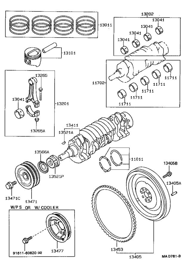 Toyota Paseo Guide, timing belt. Engine - 1356611020 ...